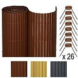 Sol Royal SolVision P78 - PVC Sichtschutz Zaun 160 x 300 cm Braun stabiler Balkon & Garten Blickschutz & Windschutz
