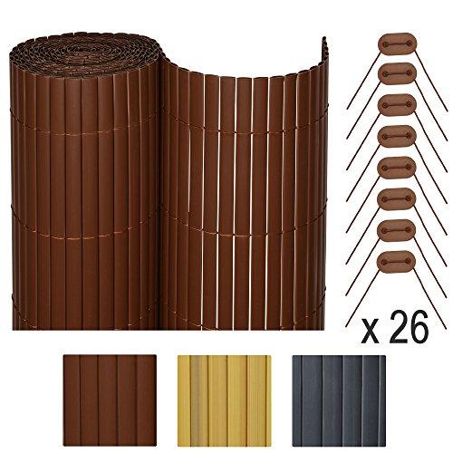 Sol Royal SolVision P78 - Brise vue Canisse PVC pour Balcon & Terrasse 300 x 100 cm Marron