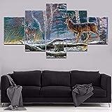 XYYAI 5 Leinwanddrucke Modulare Leinwand Wandkunst HD Gedruckt Malerei Startseite Dekorative Nowy Winter Tierbilder Deer Draw Drucke Auf Leinwand