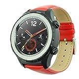 Ansenesna Sportuhr Armband Leder Sport Bracelet Smartwatch für GPS-Multisportuhr Huawei Uhr 2 (Rot)