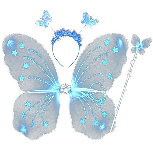 EFINNY Mädchen schmetterlingsfee Prinzessin Rollenspiel Kostüm-Set von 4 - gillter Flügel Stirnband Zauberstab Tüll Tutu Eine Größe Blau (Für Feenflügel Mädchen)