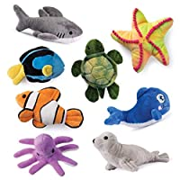 Plush Creations Sea Creatures Soft Stuffed Set of 8, Talking Blue Whale Included - Sea Turtle, Shark, Sea Lion, Octopus, Stripe Fish, Starfish, Clown Fish