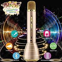 Bluetooth Microfono Wireless, Karaoke Bambino Wireless microfono altoparlante Portatile microfono speaker karaoke senza fili bluetooth Player Compatibile con IOS/Android, PC o tutti gli Smartphone