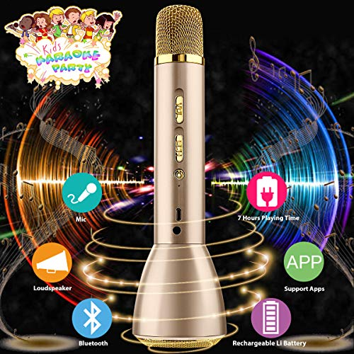Drahtloses Mikrofon Kinder,Bluetooth Mikrofon Karaoke  Kabellos,Karaoke Mikrofon Wireless Microphone,Bluetooth Karaoke Mic Tragbares Mikrofon Mit Lautsprecher für Musik Singen iPhone iPad Android IOS