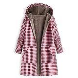 Hanomes Damen Mantel,Damen Winter Warm Kapuzenjacke Mode StretchKariert Hoodie Casual Sweatshirt Reißverschluss Jacke