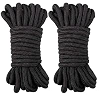 jijAcraft 7 PCS Soft Rope,Black Soft Rope Cord,70 M Cotton Rope,8 MM Craft Rope Thick Cotton Twisted Cord