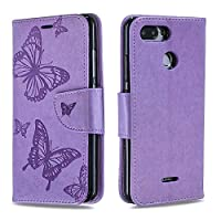 DENDICO Xiaomi Redmi 6 Wallet Case, Premium Leather Cover with Butterfly Design, Flip Folio Book Case Full Body Protection with Card Holder for Xiaomi Redmi 6