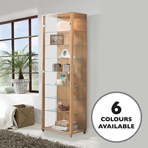 HOME Double Glass Display Cabinet Oak With 4 Moveable Shelves Spotlight