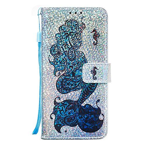A71 Glitzer Handytasche Kompatible für Samsung Galaxy A71 Hülle PU Leder Tasche Handyhülle Flip Case Cover Schutzhülle Skin Ständer Klapphülle Schale Bumper Magnet Clip Deckel Bumper Meerjungfrau