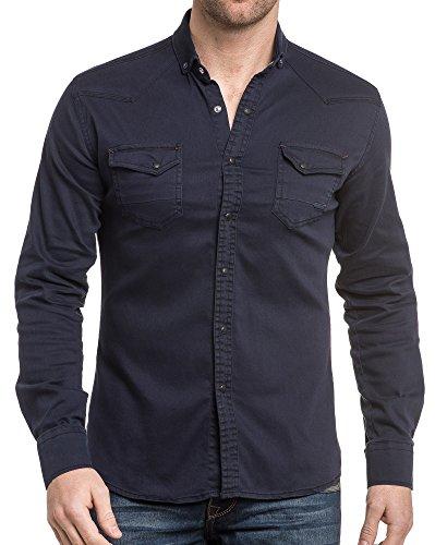 BLZ jeans - Chemise bleu navy à pression Bleu