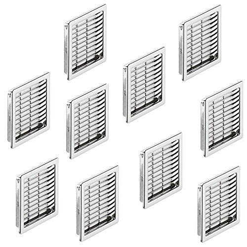 Preisvergleich Produktbild 10 Stück - Lüftungsgitter eckig Möbel-Gitter Chrom geschlitzt für Möbel - Wohnmobil & Badezimmer / Belüftungsgitter 57 x 57 mm / Türgitter eckig aus Kunststoff / Möbelbeschläge von GedoTec®