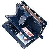 Geldbörse Leder Damen RFID Schutz BTNEEU Damen Portemonnaie Groß Viele Fächer, Geldbeutel Frauen Gross Leder mit Vielen Kartenfächer und Reißverschluss Goldbörsen Damen Lang XXL (Blau)