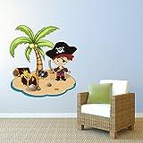 Kinderzimmer Wandtattoo Pirateninsel mit Pirat, Schatz und Totennkopf-Flagge 75 x 80cm #152B