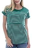 Smallshow Stillshirt Kurzarm Umstands Tshirt Umstandstop Umstandsmode Stilltop Baumwolle Schwangerschaft Streifen Shirt, Dunkelgrün, L