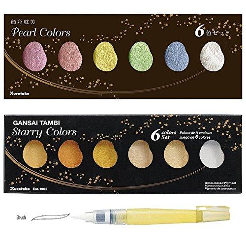 Kuretake ZIG GANSAI Tambi Starry & Pearl Farbe Wasserfarben mit BrusH20deailer Bürste UK Lager