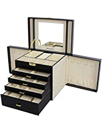 SONGMICS Large Jewellery Box 5 Layers Jewellery Storage Organizer with Drawer Necklace Hook Watch Pillow Black JBC217