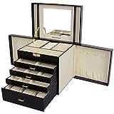 Songmics XXL Schmuckkästchen Uhrenbox 5 Schichten mit 4 Schubladen abschließbar mit spiegel schwarz JBC217