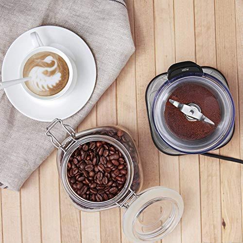 aicok Molinillo de café, eléctricos para especias y molinillo de café, con cuchillas de acero inoxidable y extraíble Molido Taza (220W), Plata