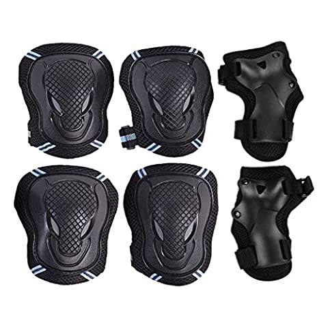 6PCS Knee Elbow Wrist Protective Pads Set Reflective Crushproof Skating Roller Cycling Skateboard Riding GYM Knee and Elbow Palm Brace Support Gear Safety Protector