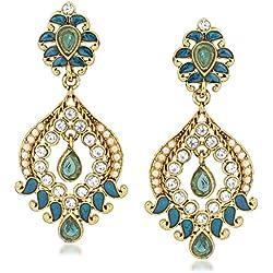 Vk Jewels Statuesque Gold Brass Alloy Cz American Diamond Earring for Women Vkerz1398G