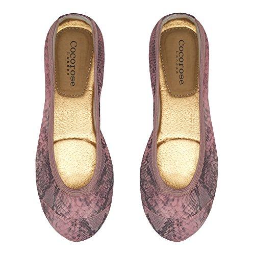 Cocorose London Scarpe Pieghevoli - Barbican Scarpe da Ballet Donna Pastel  Pink Snakeprint ...