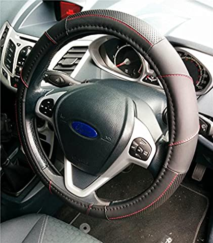 SUPREME STEERING WHEEL COVER BLACK-RED-STITCH SOFT LEATHER LOOK COMFORT GRIP