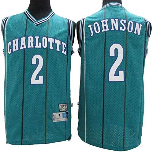 Z-ZFY Herren NBA Trikot Larry Johnson # 2 Charlotte Hornets Basketball Ärmelloses T-Shirt Atmungsaktives, Schweißabsorbierendes Material,Xxl185~190cm/95~110kg