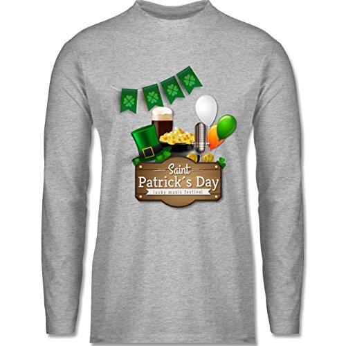 Shirtracer Festival - Saint Patrick's Day Happy Music Festival - Herren Langarmshirt Grau Meliert