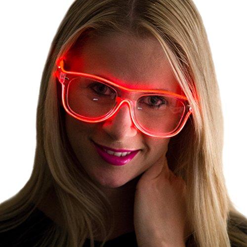 NEON NIGHTLIFE Rot Rahmen/klare Linse leuchtet Brille