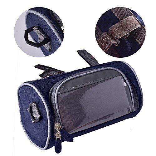 Ailiebhaus Fahrradlenkertasche Fahrradtasche zur Befestigung am Lenker,mit Touch-Screen,abnehmbaren Schultergurt Dunkel Blau