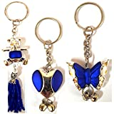 #3: Set of 3 Fashionable having Covered Heart Shape, Butterfly and Teddy Bear Premium Charm Pendant Key Chain, best suitable as Fashipn Accesorries with Women bags. Charming Ornaments and Creative Keychain Gift for Cars, Bikes, Bicycles, Back bags, Hand bags & Purses-MM-KC1-Combo3-BLUE