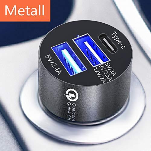 Caricabatteria da auto presa accendisigari auto metallo veloce spina del caricabatterie 2 USB 5 V 3 a USB C Alta qualità connettore in alluminio prodotti elettronici scopo