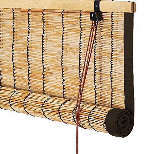 RKY Rollladen Bambus Vorhang - Vertikale Reed Vorhang Rollo Mit Kordel Raffrollo for Tür Balkon Korridor Beschattung Schatten Raumteiler Vorhang 3 Farben (mehrere Größen) /-/