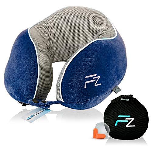 Hybrid-Nackenkissen von FLOWZOOM | Reise-Nackenkissen aufblasbar mit Memory-Foam| Nackenhörnchen aufblasber | Aufblasbares Nackenkissen für Flugzeug, Auto und Zug - Modell Duo blau