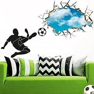 Grandora W5381 Wandtattoo Wandsticker Wandaufkleber Fußballspieler mit Ball Schuss durch die Wand Kinderzimmer