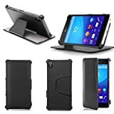 Etui luxe Sony Xperia Z3+ (Z4) noir Slim Cuir Style avec stand - Housse...