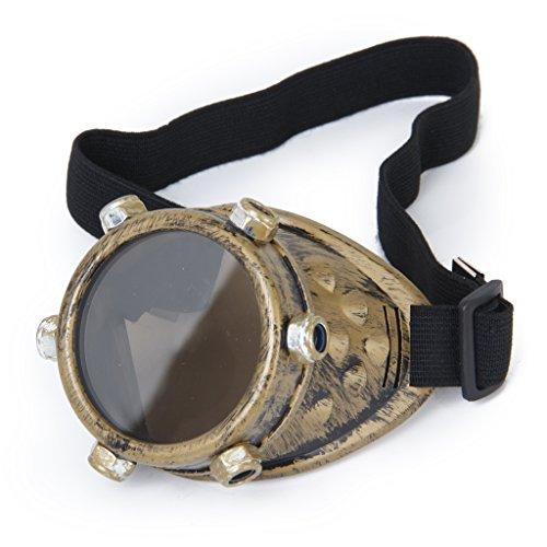 Schutzbrille Jahrgang Steampunk Brille Zyklop Brille Gotik Cosplay Kostüm für das linke Auge (Messing) (Linkes Auge Kostüm)