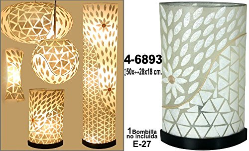 DonRegaloWeb, Kreisförmige Tischleuchte von Faser und Perlmutt mit Blumen und Dreiecken in Beige und Weiß