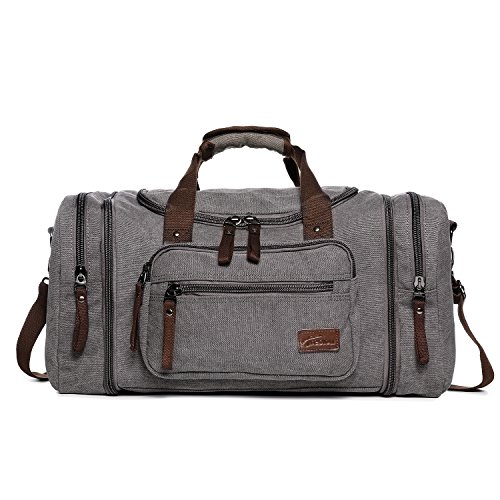 Outdoor Sports Bags, Fresion Vintage Canvas Handbag Travel Tote Luggage Men's Weekender Duffel Bag For Women & Men with 44L (Grey)