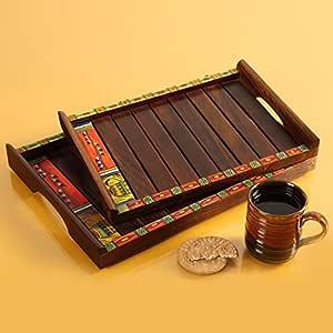 ExclusiveLane Madhubani Decorative Nested Wooden Serving Trays (35.3 cm x 24.9 cm x 3.8 cm)