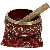 'ZAP Impex® Bol de meditación tibetano Om Mani / almohadón / mao de 4pulgadas rojo