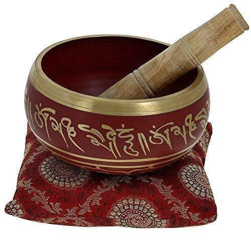 Zap Impex Tibetische Meditation Om Mani Klangschale / Kissen / Mallet'4 Zoll Rot
