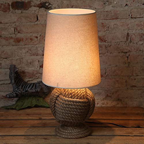 Creative Hanf Table Lampe Schlafzimmer-Studie Living Room Bar Antique Decorative Bedside Light, Push Button Switch