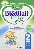 Blédina Blédilait - Lait bébé 2ème âge en poudre de 6 à 12 mois 1,2 kg - Pack de 3