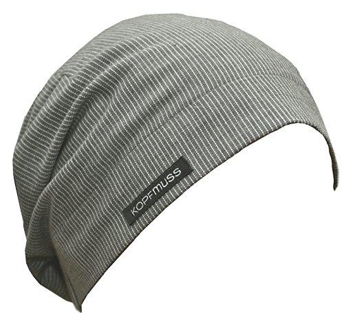 Kopfmuss - Unisex Übergangsmütze KoSG1227 - M, feine Streifen Graphit/Weiss - Kardinäle Damen-accessoires