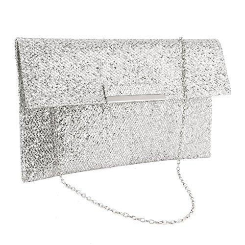 Abendtaschen Damentaschen Surepromise Glitzer Hochzeit Brauttasche Handtasche KetteTaschen Umschlag Umhängetasche, Silber Nr. 2,