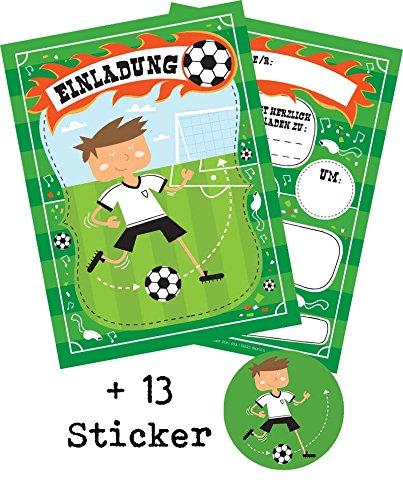 """12 Einladungskarten \""""Fussball\"""" zum Kindergeburtstag oder WM Party + 13 Sticker GRATIS - für Jungen und Mädchen / Fußballparty Mitgebsel Geburtstagseinladungen Einladungen Geburtstag Kinder"""