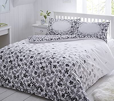 Pieridae Scattered Grey Floral Duvet Cover & Pillowcase Set Bedding Quilt Single Double King Multi Floral - low-cost UK light store.