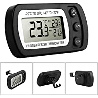 Fridge Thermometer, Glamouric Waterproof Digital Freezer Refrigerator Thermometer with LCD Display and Max/Min Function for Home Kitchen Restaurants Bars Cafes (Black)