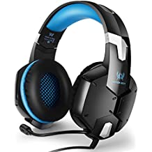 EasySMX PS4pc Cellphones Stereo Gaming Headset también para Portátil teléfonos móviles Tablet Micrófono Ajustable Control de Volumen One-Key Mute Negro y Azul
